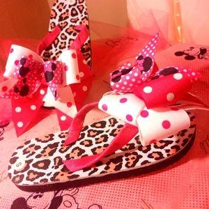 Custom made girls small Minnie Mouse flip flops